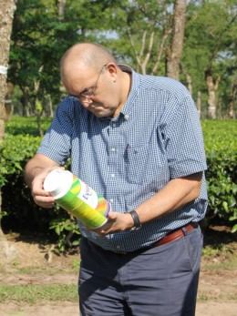 Martin Gibson Director CropLife checking agrochemicals