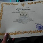 Pak Wawan's certificate of most improved productivity from the Governor of West Java